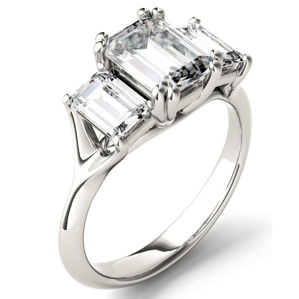 <title>チャールズ アンド コルバード 海外 レディース アクセサリー リング White Gold 全商品無料サイズ交換 Moissanite Emerald Three Stone Ring 2-9 10 ct. tw. in 14k</title>
