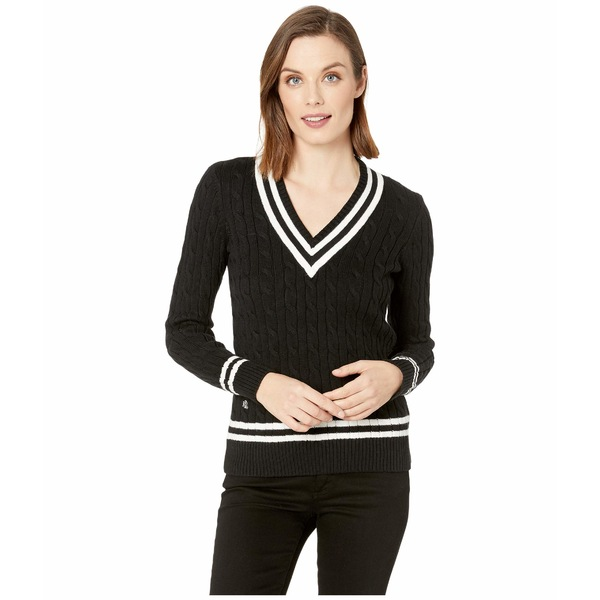 ラルフローレン レディース ニット&セーター アウター Cotton Cricket Sweater Polo Black/Mascarpone Cream