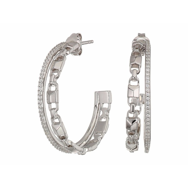 マイケルコース レディース ピアス&イヤリング アクセサリー Precious Metal-Plated Sterling Silver Mercer Link Pav Halo Hoops Earrings Silver