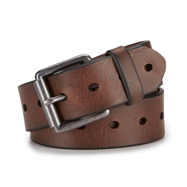 クレミュ メンズ ベルト アクセサリー Daniel Cremieux Lennon Leather Belt Brown