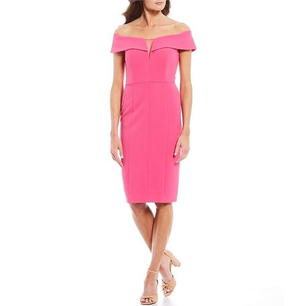 ヴィンスカムート レディース ワンピース トップス Off-the-Shoulder Mesh Cut Out Sheath Dress Hot Pink