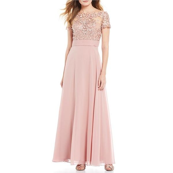 ジェイエスコレクションズ レディース Beaded Gown ワンピース トップス Illusion レディース Beaded Bodice A-Line Chiffon Gown Maple Sugar, 人気デザイナー:456ebe80 --- officewill.xsrv.jp