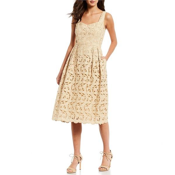 アントニオメラニー レディース Sleeveless ワンピース Blend トップス Nyla Midi Embroidered Cotton Blend Sleeveless A-Line Midi Dress Almond, 安堵町:a72173ba --- officewill.xsrv.jp