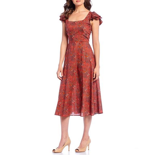 アントニオメラニー レディース ワンピース トップス Farrah Nottingham Floral Print Square Neck Flutter Sleeve Midi Dress Nottingham
