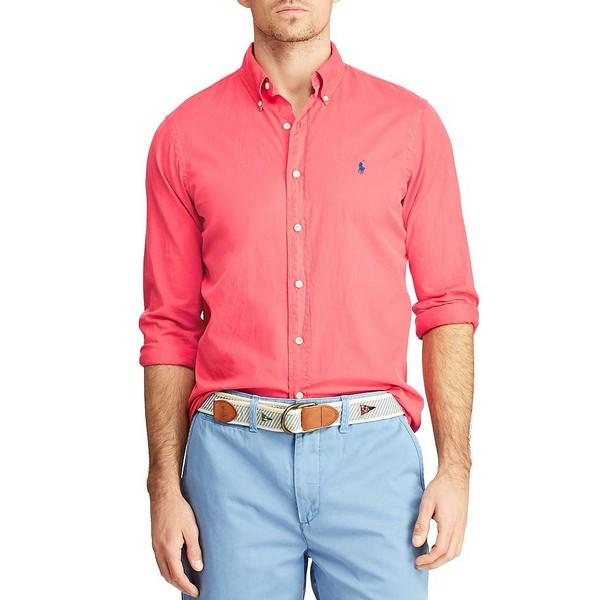 ラルフローレン メンズ シャツ トップス Solid Garment-Dye Twill Long-Sleeve Woven Shirt Cactus