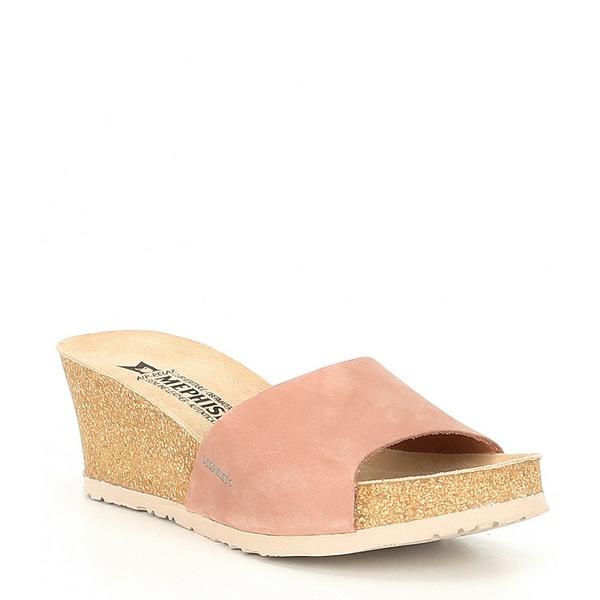 メフィスト レディース サンダル シューズ Lise Suede Cork Wedge Slides Old Pink Nubuck