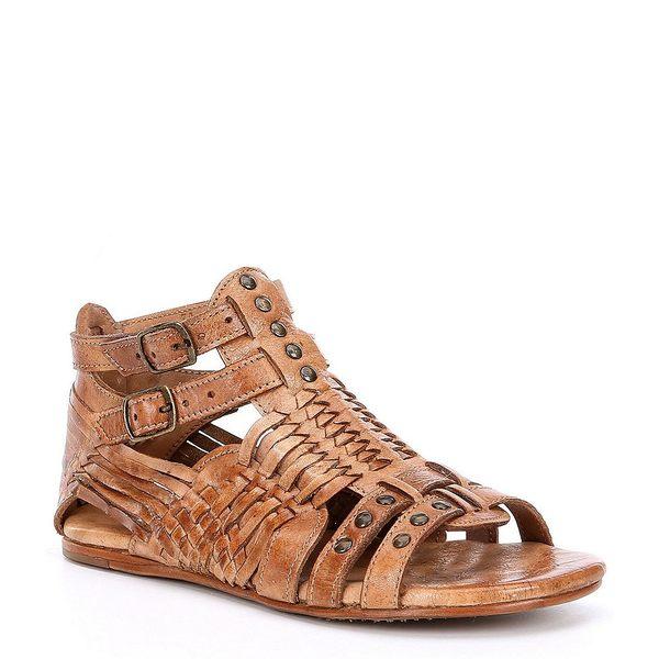 ベッドステュ レディース サンダル シューズ Claire Distressed Leather Flat Sandals Tan Dip Dye