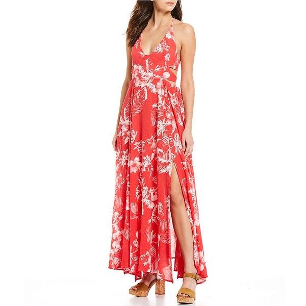 フリーピープル レディース ワンピース トップス Lille Tropical Floral Print Halter Long Midi Dress Raspberry