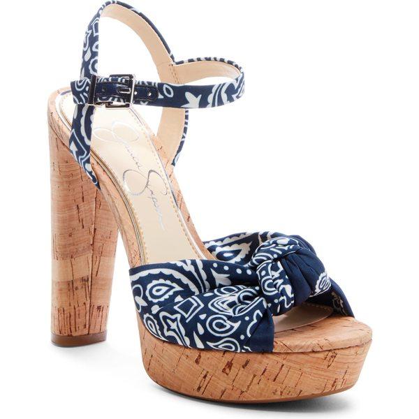 ジェシカシンプソン レディース サンダル シューズ Jessica Simpson Ivrey Knot Platform Sandal (Women) Navy/ White