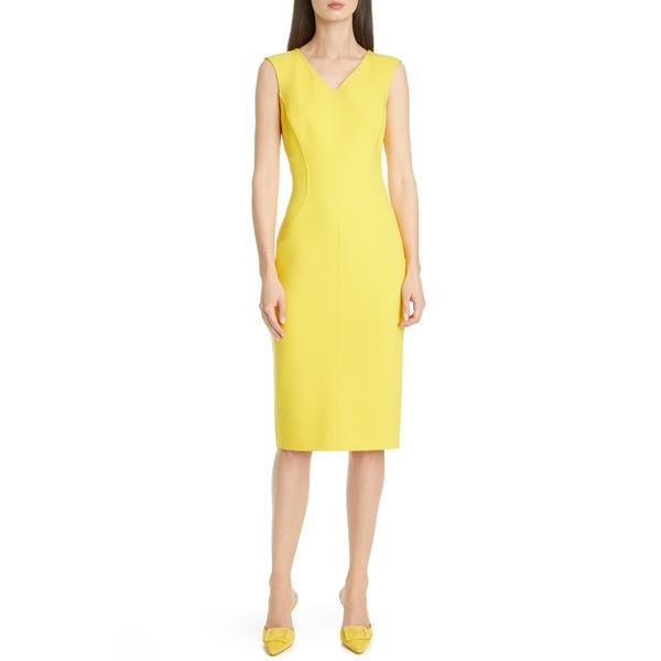 マイケル コース レディース ワンピース トップス Michael Kors Collection Wool Blend Sheath Dress Lemon