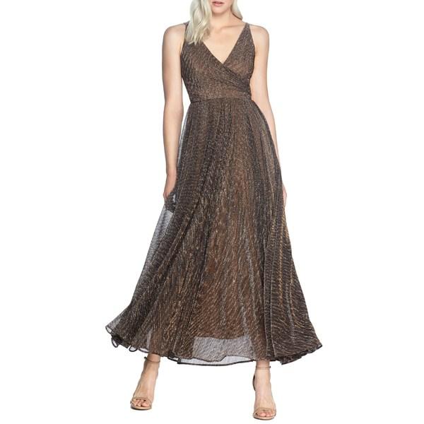 ドレスザポプレーション レディース ワンピース トップス Dress the Population Valentina Metallic Fit & Flare Gown Metallic Bronze