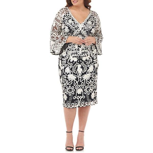ジェイエスコレクションズ レディース ワンピース トップス JS Collections Bell Sleeve Mesh Shift Dress (Plus Size) Ivory Black