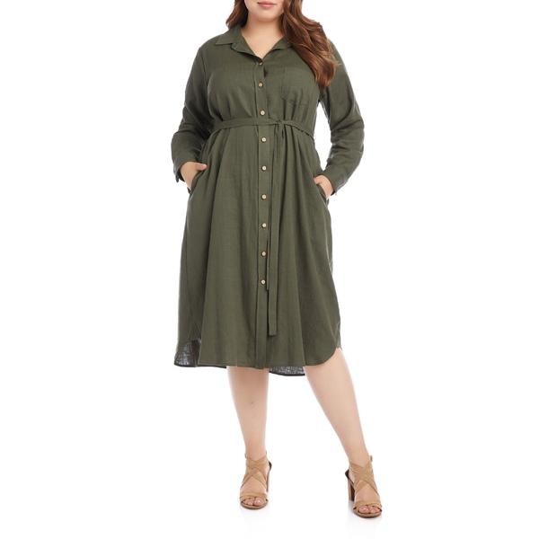 カレンケーン レディース ワンピース トップス Karen Kane Long Sleeve Shirtdress (Plus Size) Oli