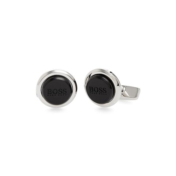 ボス メンズ アクセサリー カフスボタン Black 全商品無料サイズ交換 ボス メンズ カフスボタン アクセサリー BOSS Round Logo Cuff Links Black