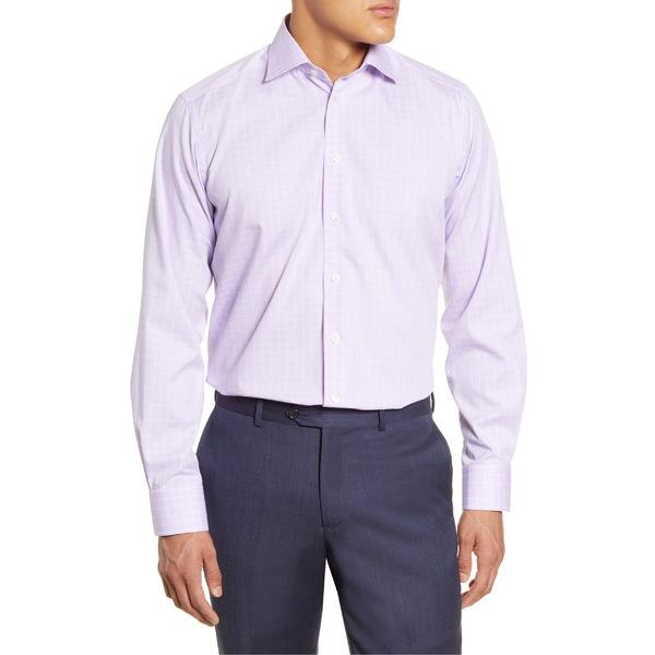 エトン メンズ シャツ トップス Eton Contemporary Fit Check Dress Shirt Purple