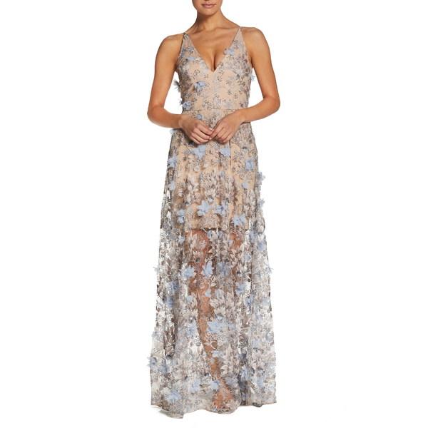 ドレスザポプレーション レディース ワンピース トップス Dress the Population Sidney Deep V-Neck 3D Lace Gown Mineral Blue Floral