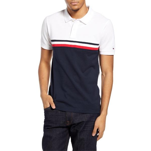 トミー ヒルフィガー メンズ ポロシャツ トップス Tommy Hilfiger Slim Fit Clorblock Polo White / Multi