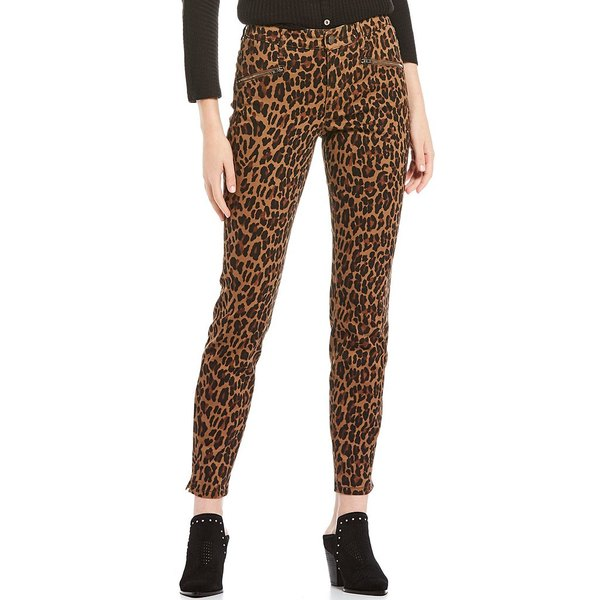 コードブリュー レディース カジュアルパンツ ボトムス Soho Zipper Front Pocket Detail Cheetah Print Skinny Jeans Potting Soil/Cheetah