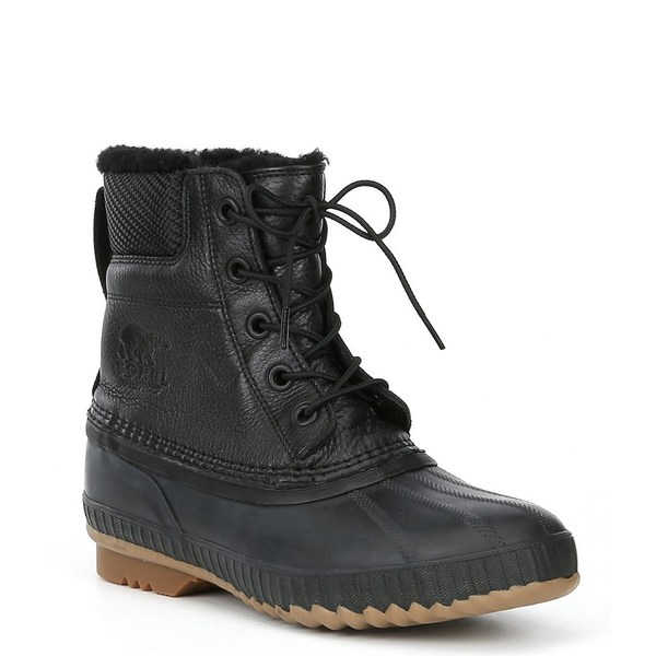 ソレル メンズ ブーツ&レインブーツ シューズ Men's Cheyanne Lux Waterproof Microfleece Lined Lace-Up Boot Black