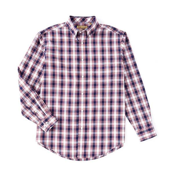 ランドツリーアンドヨーク メンズ シャツ トップス Gold Label Roundtree & Yorke Perfect Performance Long-Sleeve Non Iron Gingham Sportshirt Merlot