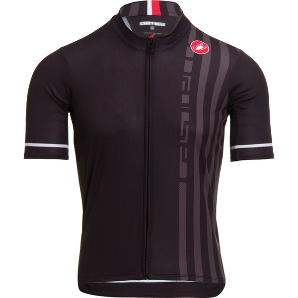 カステリ メンズ サイクリング スポーツ Podio Doppio Full-Zip Jersey - Men's Light Black