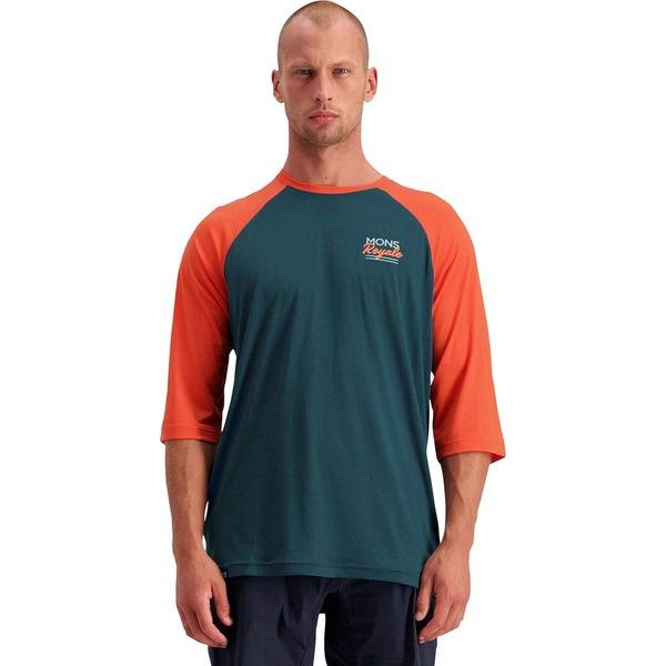 モンスロイヤル メンズ サイクリング スポーツ Tarn Freeride Raglan 3/4-Sleeve Jersey - Men's Atlantic/Orange Smash