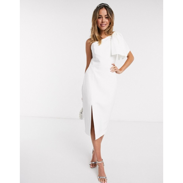 エバニュー レディース ワンピース トップス Ever New bow shoulder midi dress with thigh split in white White