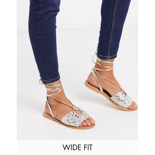 エイソス レディース サンダル シューズ ASOS DESIGN Wide Fit Figtree woven leather tie leg sandal in metallic Metallic