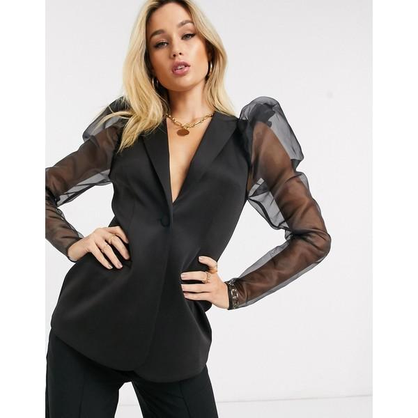 エイソス レディース ジャケット&ブルゾン アウター ASOS DESIGN jersey long line blazer with organza sleeves Black