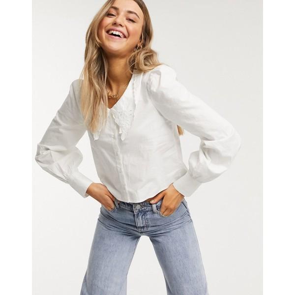 モンキ レディース シャツ トップス Monki Yulia organic cotton puff sleeve blouse in white White