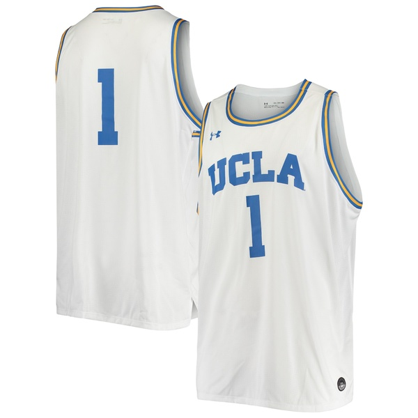 アンダーアーマー メンズ ユニフォーム トップス #1 UCLA Bruins Under Armour College Replica Basketball Jersey White