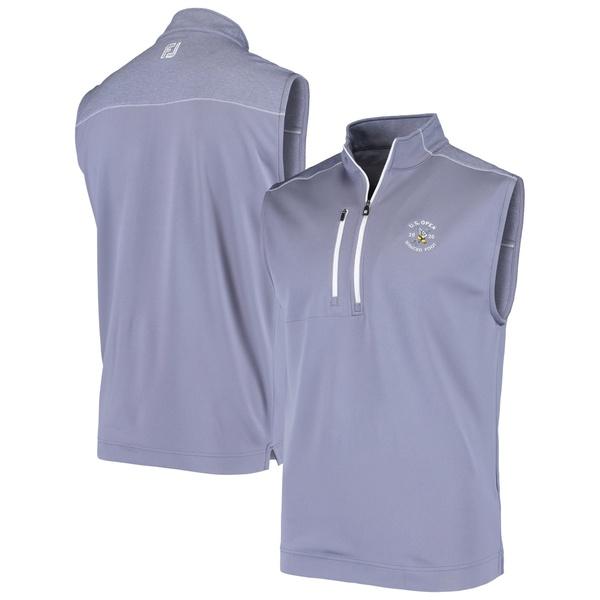 フットジョイ メンズ ジャケット&ブルゾン アウター Men's 2020 U.S. Open FootJoy Gray Blocked Quarter Zip Pullover Vest