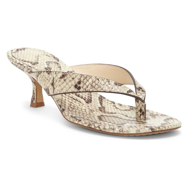 ヴィンスカムート レディース サンダル シューズ Vince Camuto Marlinda Kitten Heel Flip Flop (Women) Oatmeal Snake Print Leather