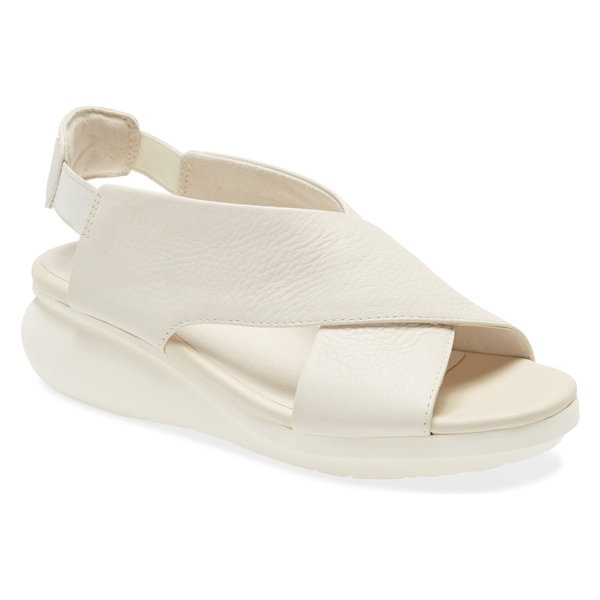 カンペール レディース サンダル シューズ Camper Balloon Slingback Wedge Sandal (Women) Light Beige Leather