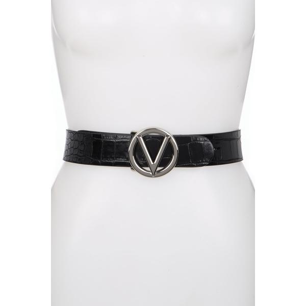 ベルト Giusy Embossed Medium Belt ヴァレンティノ レディース Croc BLACK - Leather アクセサリー