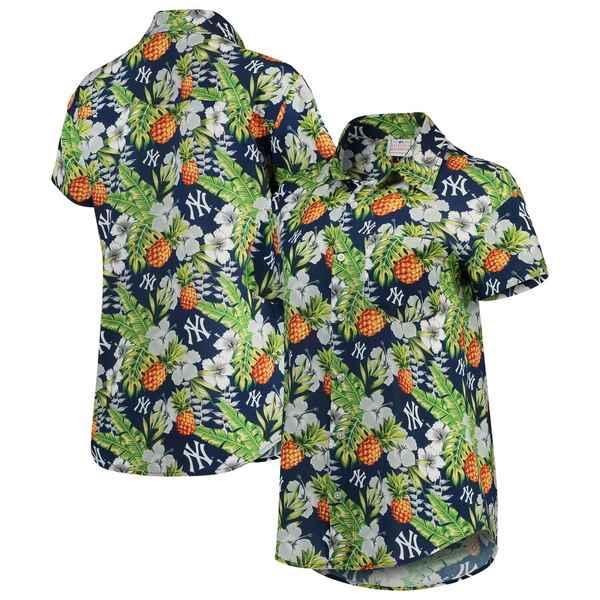 フォコ レディース シャツ トップス New York Yankees Women's Pineapple Button-Up Shirt Navy