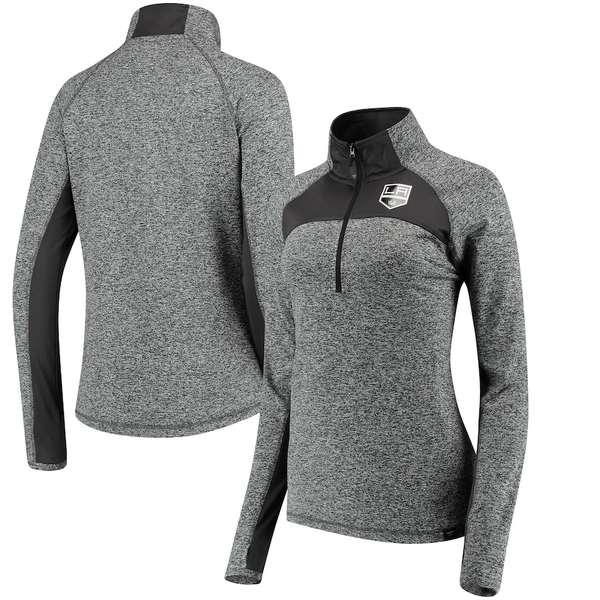 ファナティクス レディース ジャケット&ブルゾン アウター Los Angeles Kings Fanatics Branded Women's Static Quarter-Zip Jacket Heathered Black