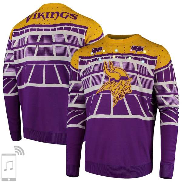 フォコ メンズ シャツ トップス Minnesota Vikings Bluetooth Light Up Ugly Sweater Purple