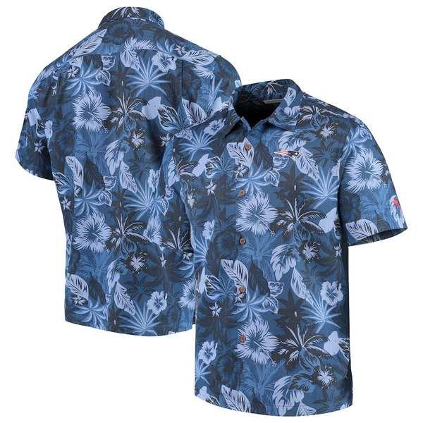 トッミーバハマ メンズ シャツ トップス New England Patriots Tommy Bahama Fuego Floral Woven Button-Up Shirt Navy
