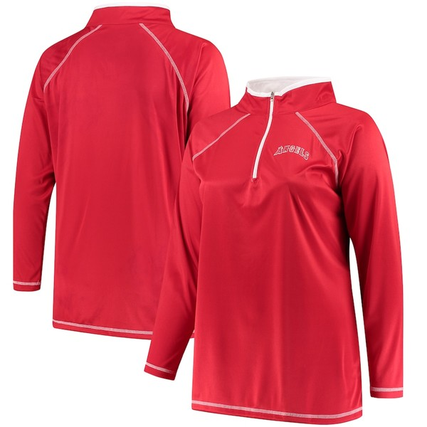マジェスティック レディース ジャケット&ブルゾン アウター Los Angeles Angels Majestic Women's Plus Size Quarter-Zip Pullover Jacket Red