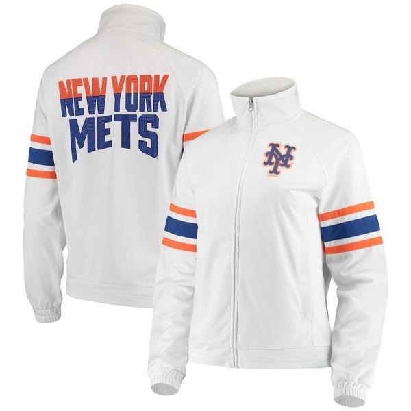 カールバンクス レディース ジャケット&ブルゾン アウター New York Mets G-III 4Her by Carl Banks Women's Game Score Full-Zip Track Jacket White