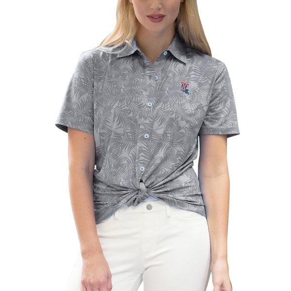 ビンテージアパレル レディース シャツ トップス Louisiana Tech Bulldogs Women's Vansport Pro Maui Button-Up Shirt Gray