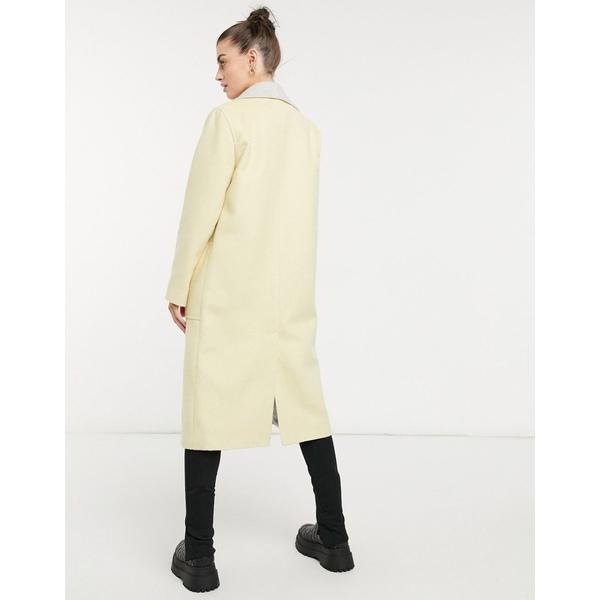 ヘレンベーマン レディース コート アウター Helene Berman long Ruth double sided coat in yellow Lemon with pale gray