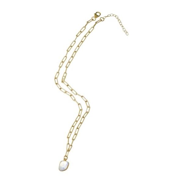アドニア レディース ネックレス・チョーカー・ペンダントトップ アクセサリー 14K Yellow Gold Vermeil Jagged Cut Moonstone Link Chain Pendant Necklace WHITE