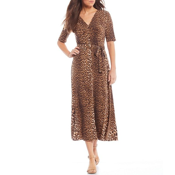 プレストンアンドヨーク レディース ワンピース トップス Sydney Leopard Print Stretch Tie Waist Elbow Sleeve A-Line Midi Dress Cheetah