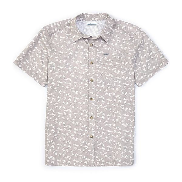 コロンビア メンズ シャツ トップス PFG Super Slack Tide Fish Novelty Print Short-Sleeve Camp Shirt Cool Grey/Watery Fish Print