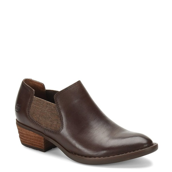 ボーン レディース ブーツ&レインブーツ シューズ Dallia Leather Wrapped Block Heel Chelsea Shooties Dark Brown