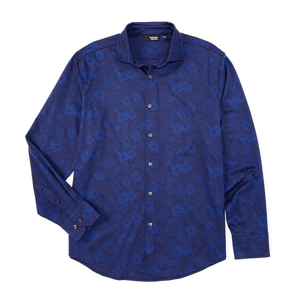 ムラノ メンズ シャツ トップス Liquid Luxury Floral Print Jacquard Long-Sleeve Coatfront Shirt Blue
