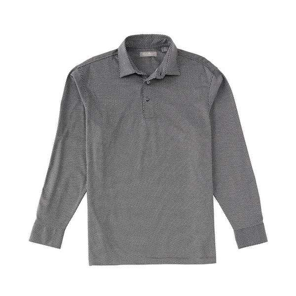 クレミュ メンズ ポロシャツ トップス Daniel Cremieux Signature Geo Jaquard Long-Sleeve Polo Shirt Black