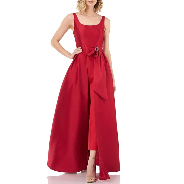 ケイアンガー レディース ワンピース トップス Scoop Neck Embellished Bow Waist Walk Thru Jumpsuit Stunning Red